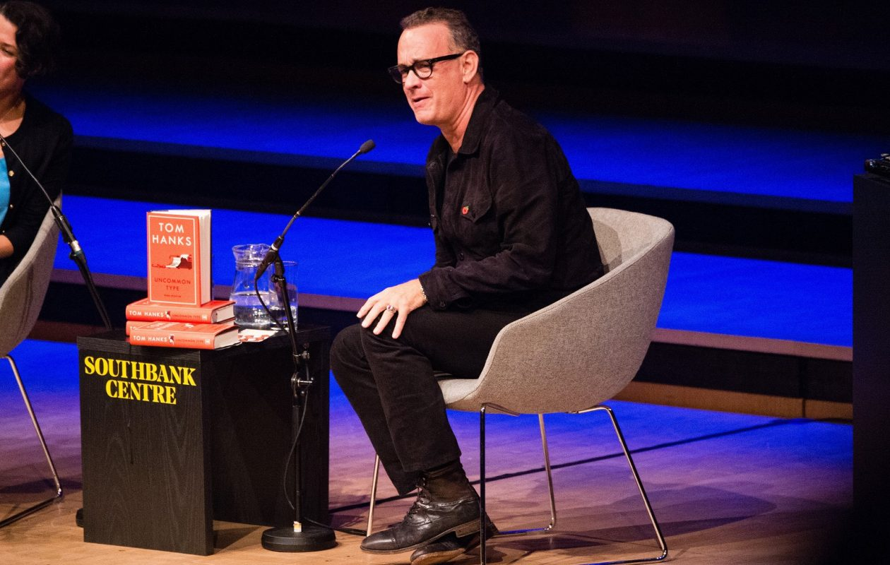 "Tom Hanks appears Nov. 1 at The South Bank Centre London Literature Festival to promote his debut book ""Uncommon Type."" (Jeff Spicer/Getty Images)"