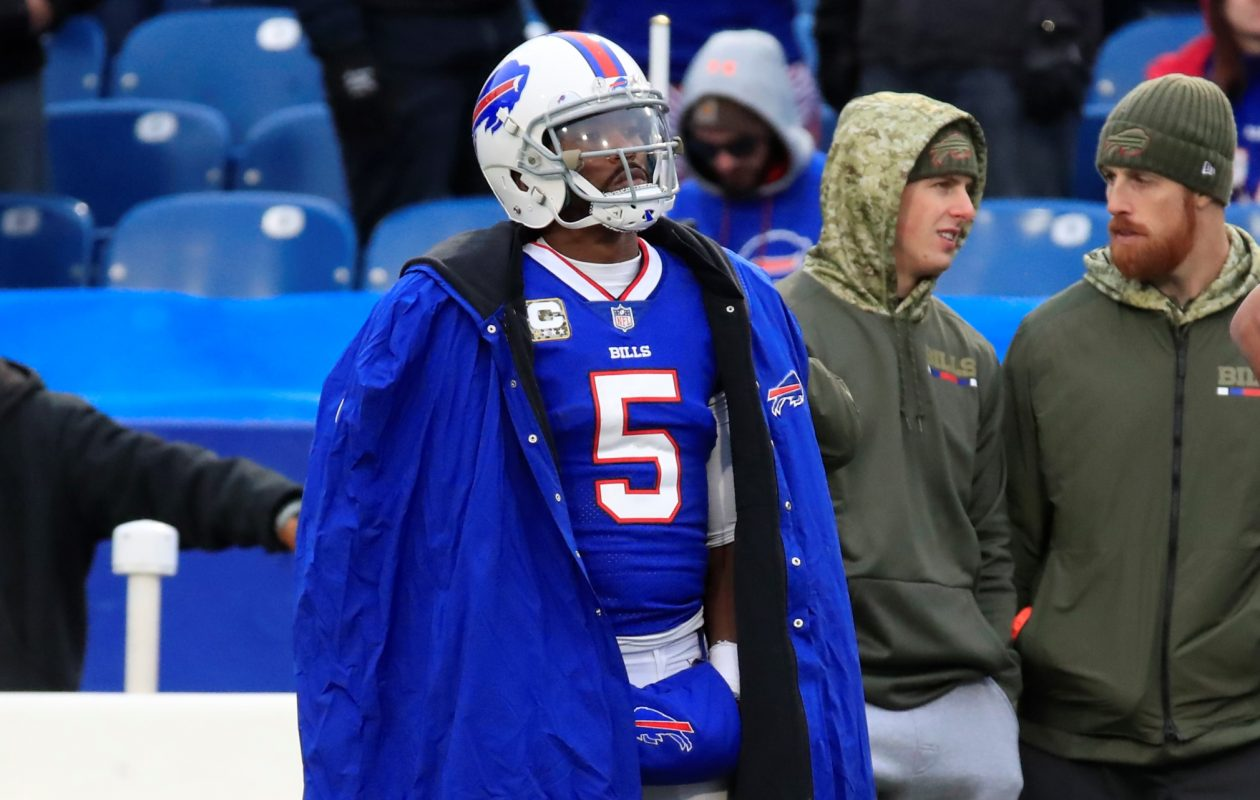 Buffalo Bills quarterback Tyrod Taylor stands on the sideline after being replaced against the New Orleans Saints during fourth quarter action at New Era Field on Sunday, Nov. 12, 2017.  (Harry Scull Jr./ Buffalo News)