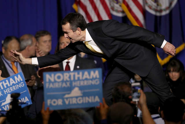 Ralph Northam, the Democratic candidate for governor of Virginia, greets supporters at an election night rally November 7, 2017, in Fairfax, Virginia. Northam defeated Republican candidate Ed Gillespie.  (Getty Images)