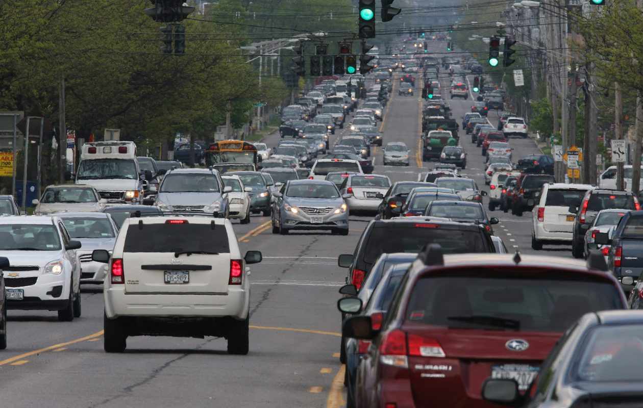 Traffic gets intense along Main Street in Williamsville and other busy streets in the Town of Amherst. There's little green space left in the town, and developers are wondering how the all-Democratic Town Board that will take office in 2018 will impact future development in the town.  (2013 file photo/The Buffalo News)