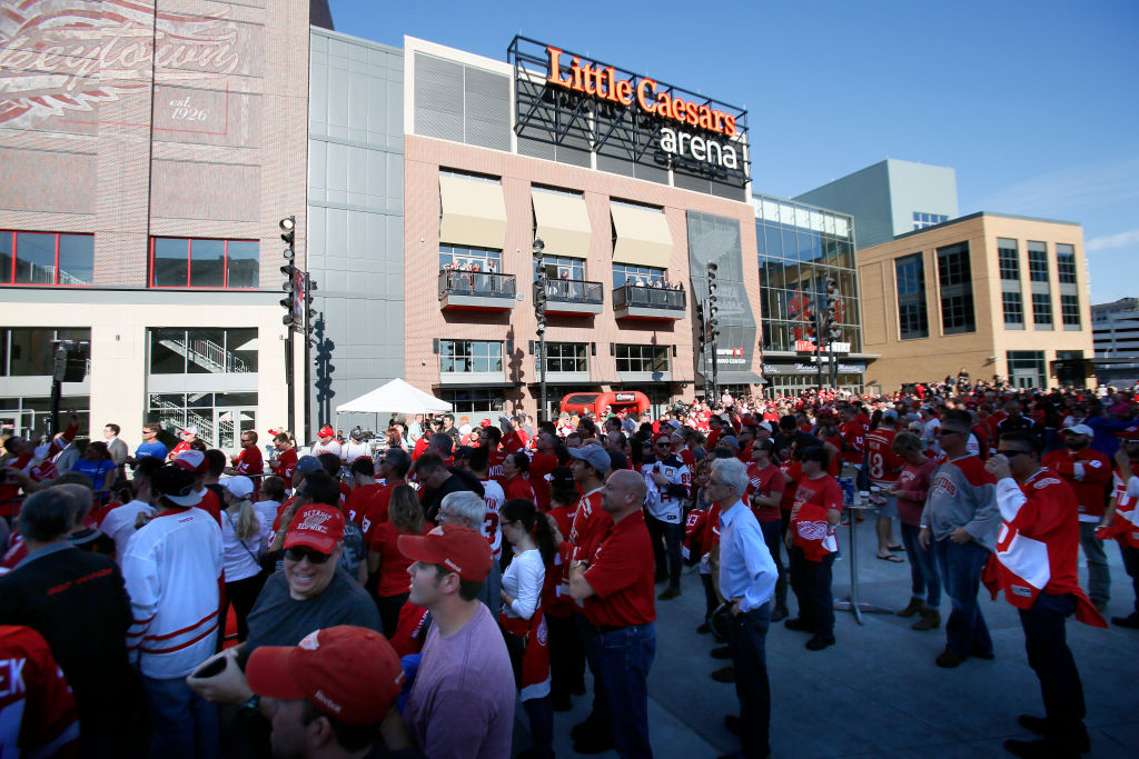 The outdoor plaza is a chief gathering spot outside Little Caesars Arena in Detroit (Getty Images).