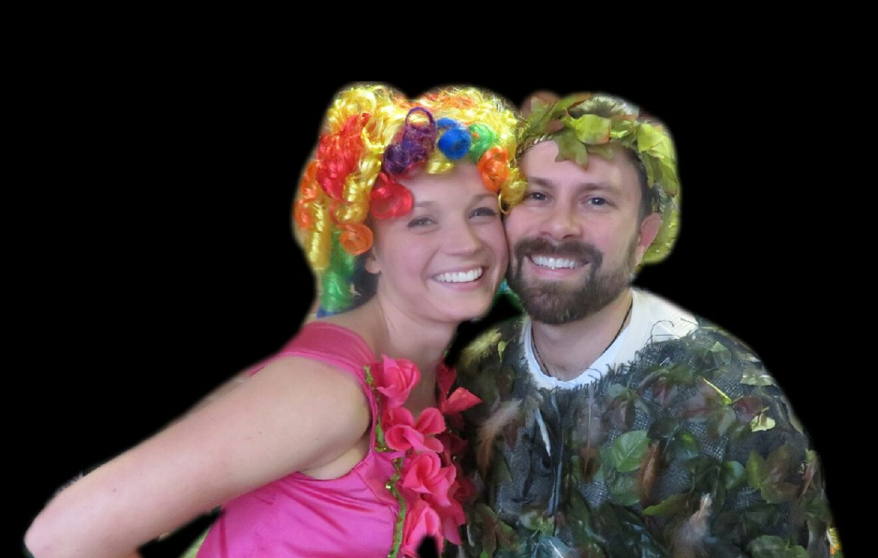 """Eric Kesler and Sarah Blewett as Papageno and Papagena, the comic lovebirds in """"The Magic Flute"""" presented by Buffalo Opera Unlimited. (Photo courtesy of Buffalo Opera Unlimited.)"""
