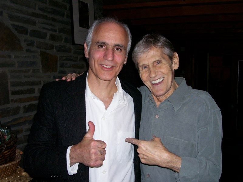 Buffalo Music Hall of Fame guitarist Doug Yeomans, left, pictured with Levon Helm in 2008, will lead The Last Waltz Live at Asbury Hall @ Babeville on Nov. 17. (Photo courtesy of Doug Yeomans)