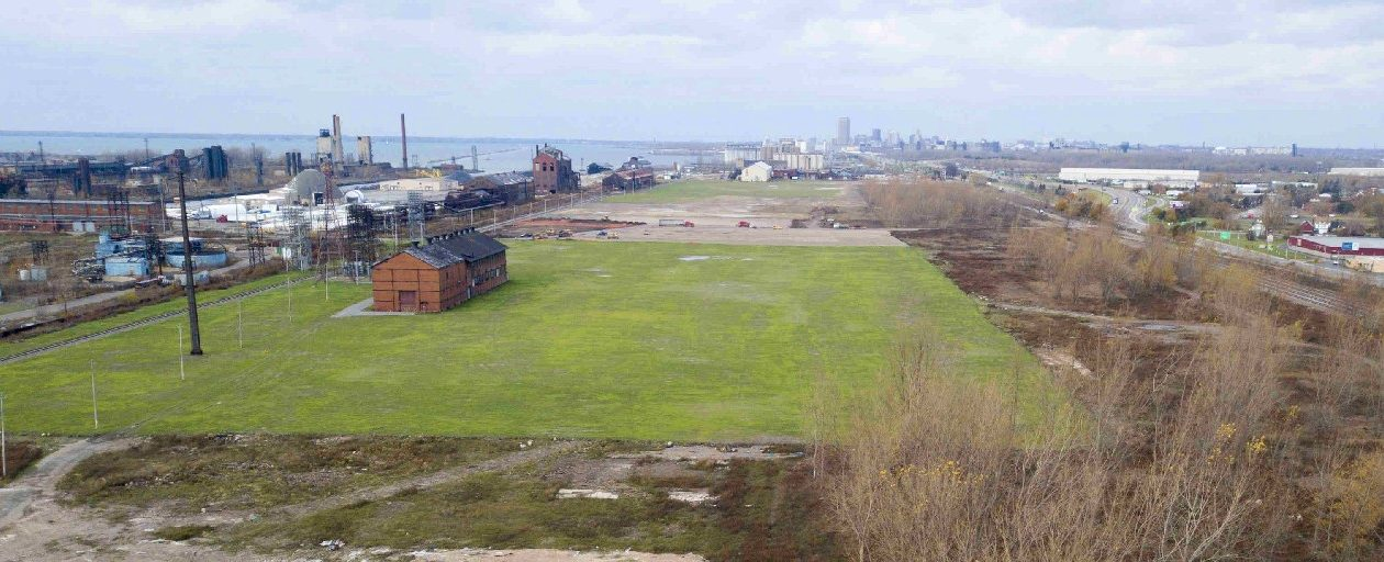 This brownfield at the former Bethlehem Steel site in Lackawanna has been turned into a green field over the last few months in a cleanup by Tecumseh Redevelopment and the state Department of Environmental Conservation. (John Hickey/Buffalo News)