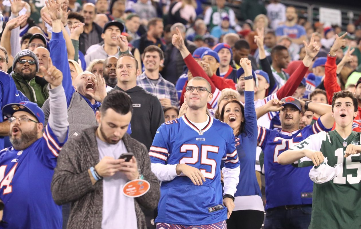 Buffalo Bills fans are seen at MetLife Stadium in East Rutherford, N.J., on Thursday, Nov. 2, 2017.  (James P. McCoy/Buffalo News)