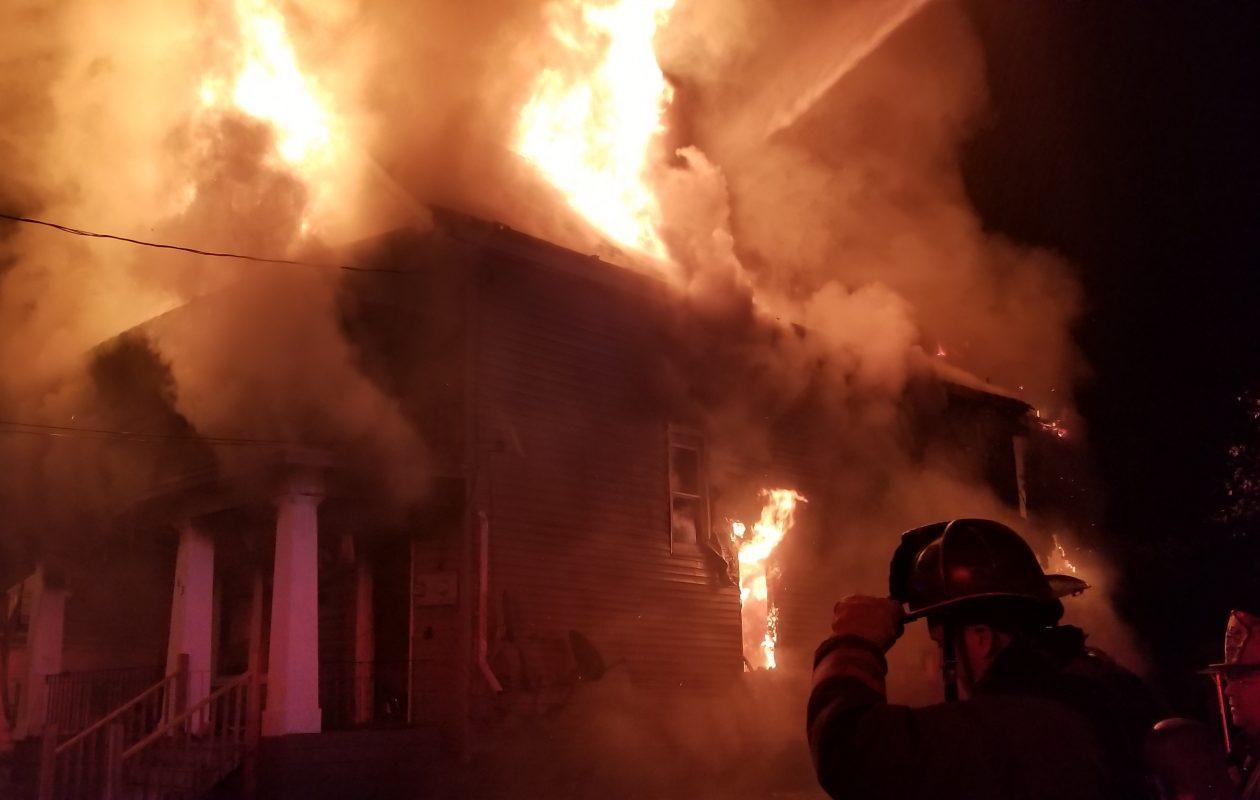 Fire engulfed a home on Box Avenue early Wednesday morning. (David F. Kazmierczak/Special to The News)