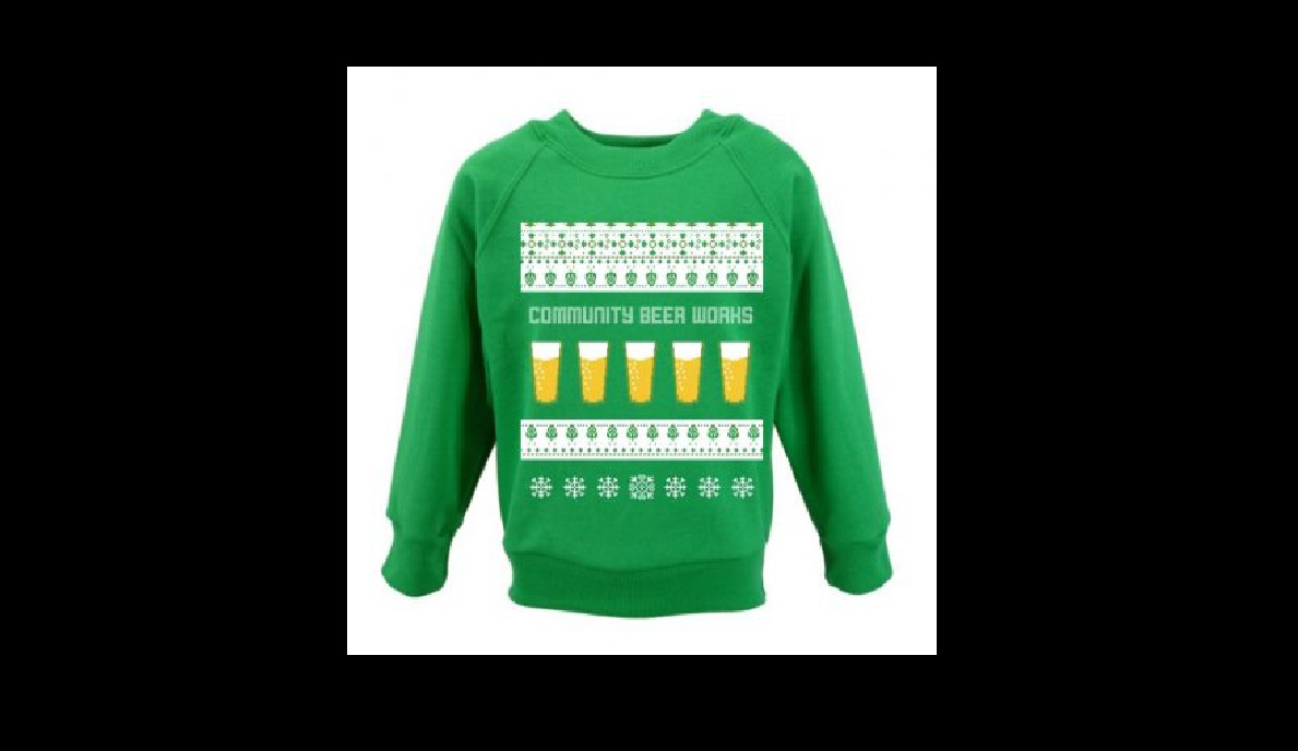 This colorful sweatshirts celebrates the holidays with Community Beer Works.
