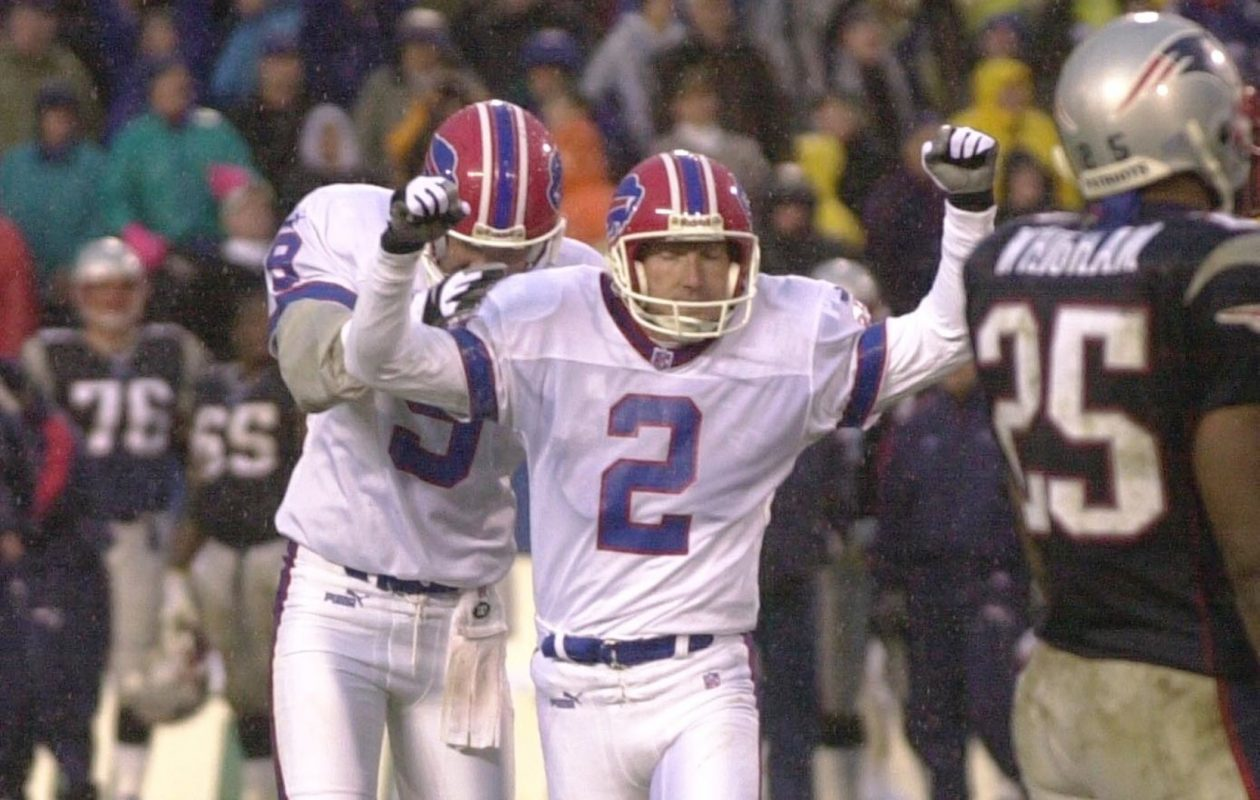 Steve Christie and Chris Mohr celebrate a field goal late in the fourth quarter in a game against the New England Patriots on Nov. 5, 2000, that tied the game 13-13. (Buffalo News file photo)