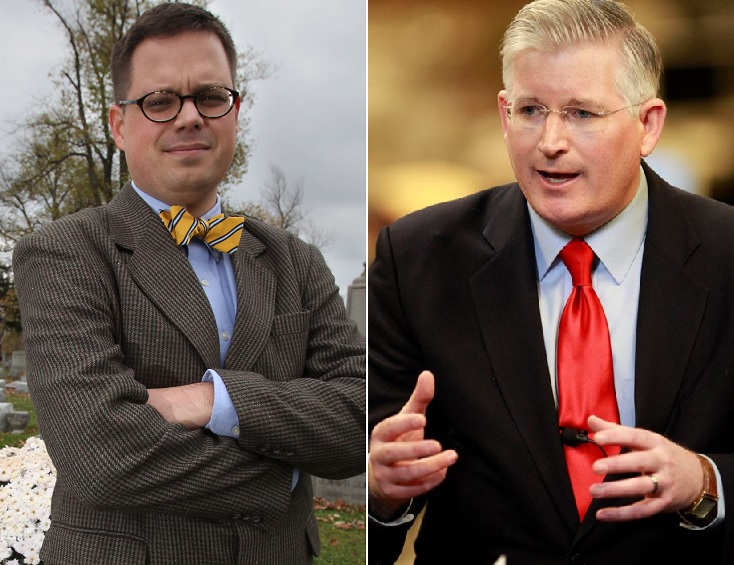 Former WBEN news director Steve Cichon, left, and state Assemblyman Mickey Kearns are spending more than $250,000 combined in race for Erie County Clerk. (News file photos)