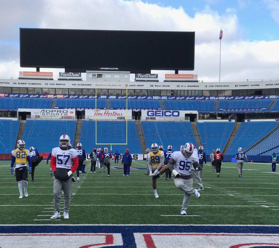 The Bills practiced outdoors at New Era Field on Friday (Photo: Vic Carucci, Buffalo News)