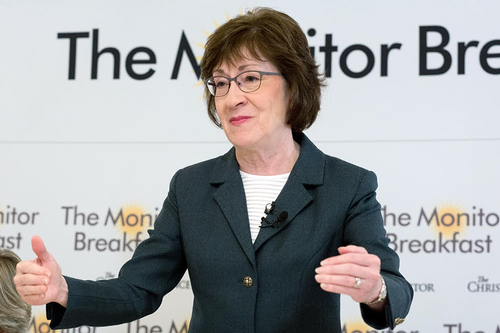 "Speaking to reporters at  a Christian Science Monitor breakfast, GOP Sen. Susan Collins of Maine said:  ""I want to help middle income families. I want to keep the provision that's been in the tax code since the very beginning."" (Michael Bonfigli/The Christian Science Monitor)"