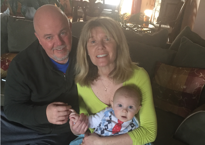 Dana Papaj, center, with her husband Don Papaj and grandson, Mikey Gruttadauria, at their Grand Island home during a recent home visit. Dana Papaj suffered a traumatic brain injury when she was struck in a hit-and-run while walking her dog on June 13. (Provided by Brittany Gruttadauria)