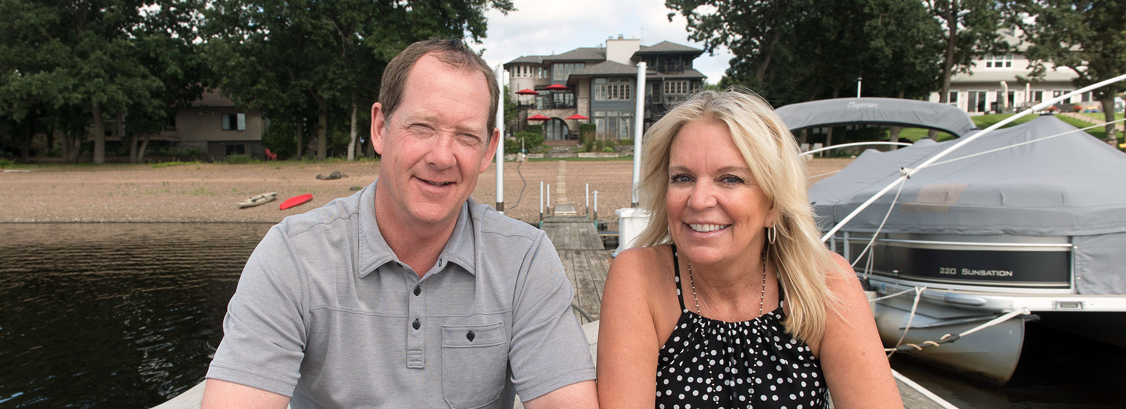 Minnesota State Sen. Karin Housley and Buffalo Sabres head coach Phil Housley are at home on the banks  of the St. Croix River in Lakeland, Minn., where words above the fireplace reflect the family's structure. (Angela Jimenez/Special to The News)