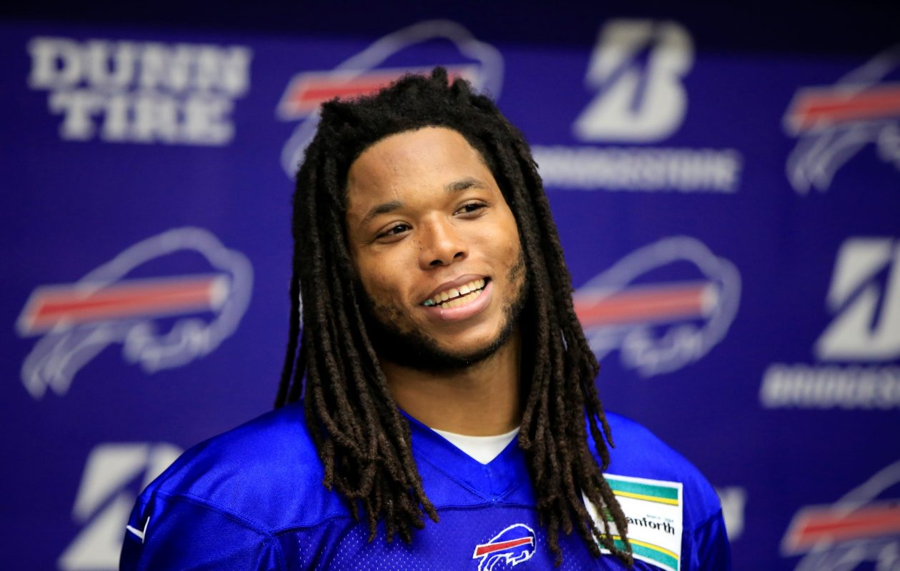 Buffalo Bills Kelvin Benjamin speaks to the media on Monday, Nov. 6, 2017.  (Harry Scull Jr./ Buffalo News)