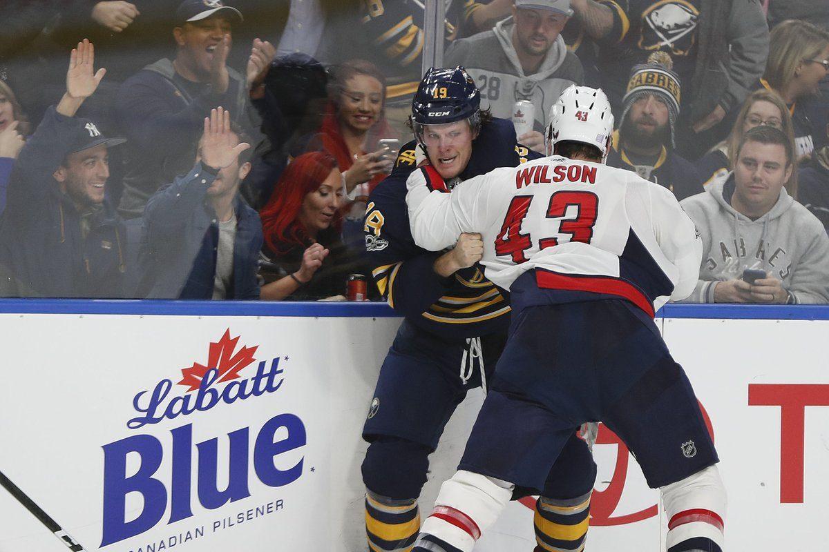 Jake McCabe took exception to Tom Wilson's hit on Sam Reinhart. (Mark Mulville/Buffalo News)