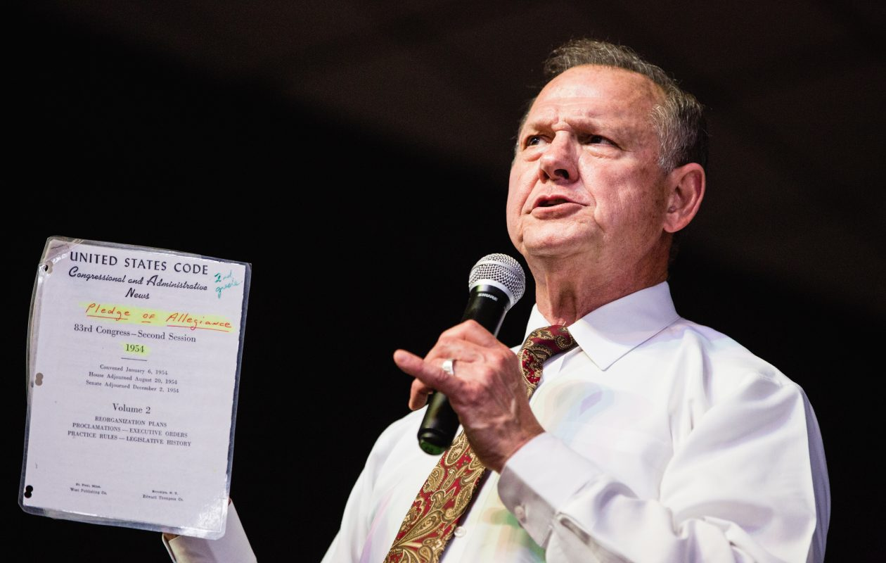 Republican senators on Nov. 9 called on Roy Moore, seen here in a file photo in Florence, Alabama, to withdraw from the Senate race in Alabama if allegations of sexual misconduct are true. (Photo for the Washington Post by Nathan Morgan()