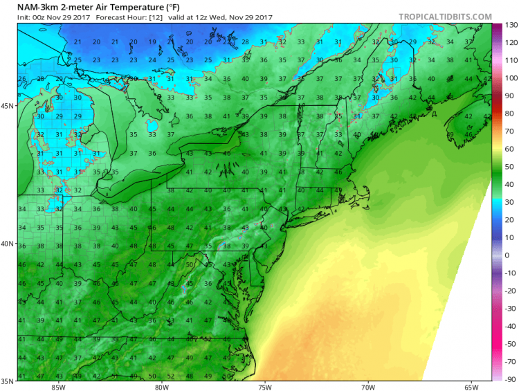 The forecast for 8 a.m. shows temperatures in the low 40s for the Buffalo Niagara region. (TropicalTidbits.com)