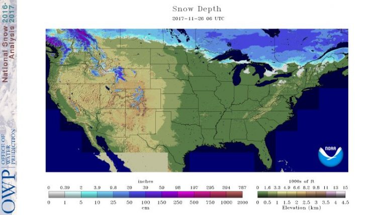 There's a little bit of snow on the ground in the higher elevations south and east of Buffalo, but not many places in the Lower 48 have any sign of snow cover, as of Sunday. Don't expect it to change much in the Buffalo Niagara region into early December, forecasts project. (National Operational Hydrologic Remote Sensing Center)