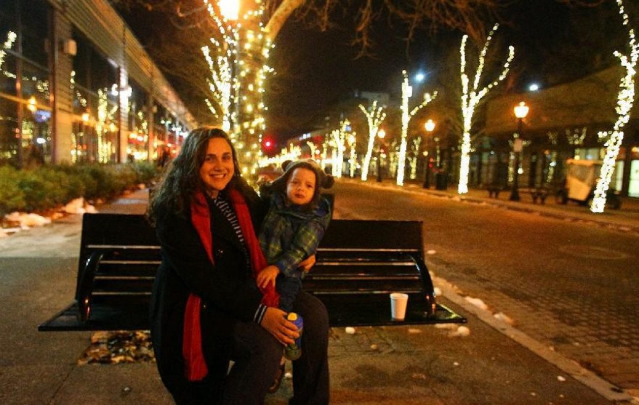 Jessica Shvimer and son Dylan, of Grand Island, are among those who've taken in previous Old Falls Street holiday lighting ceremonies. (John Hickey/News file photo)