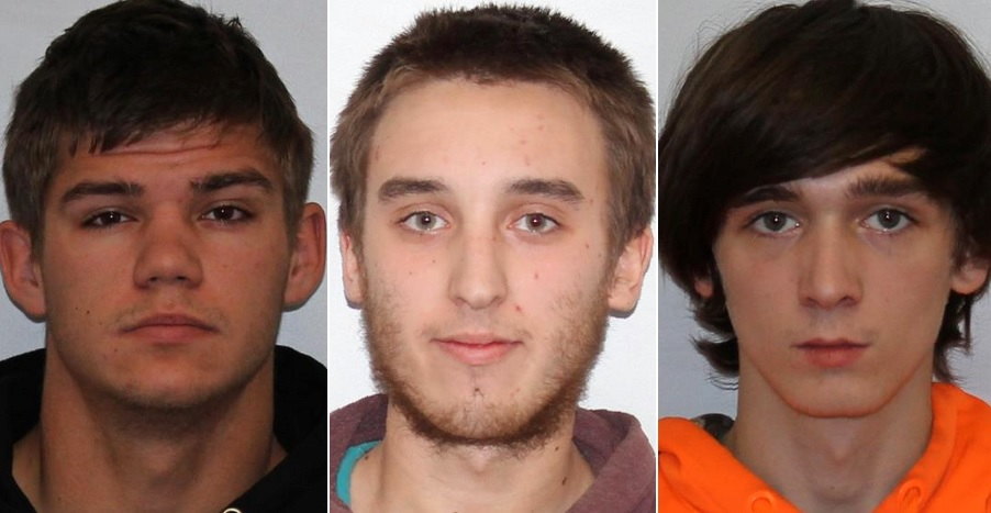 From left, Robert Murray Jr., Andrew Elliott and Spencer Carl have been charged with criminally negligent homicide in the death of 18-year-old Gregory M. Dunne of Andover.  (Photos provided by State Police)