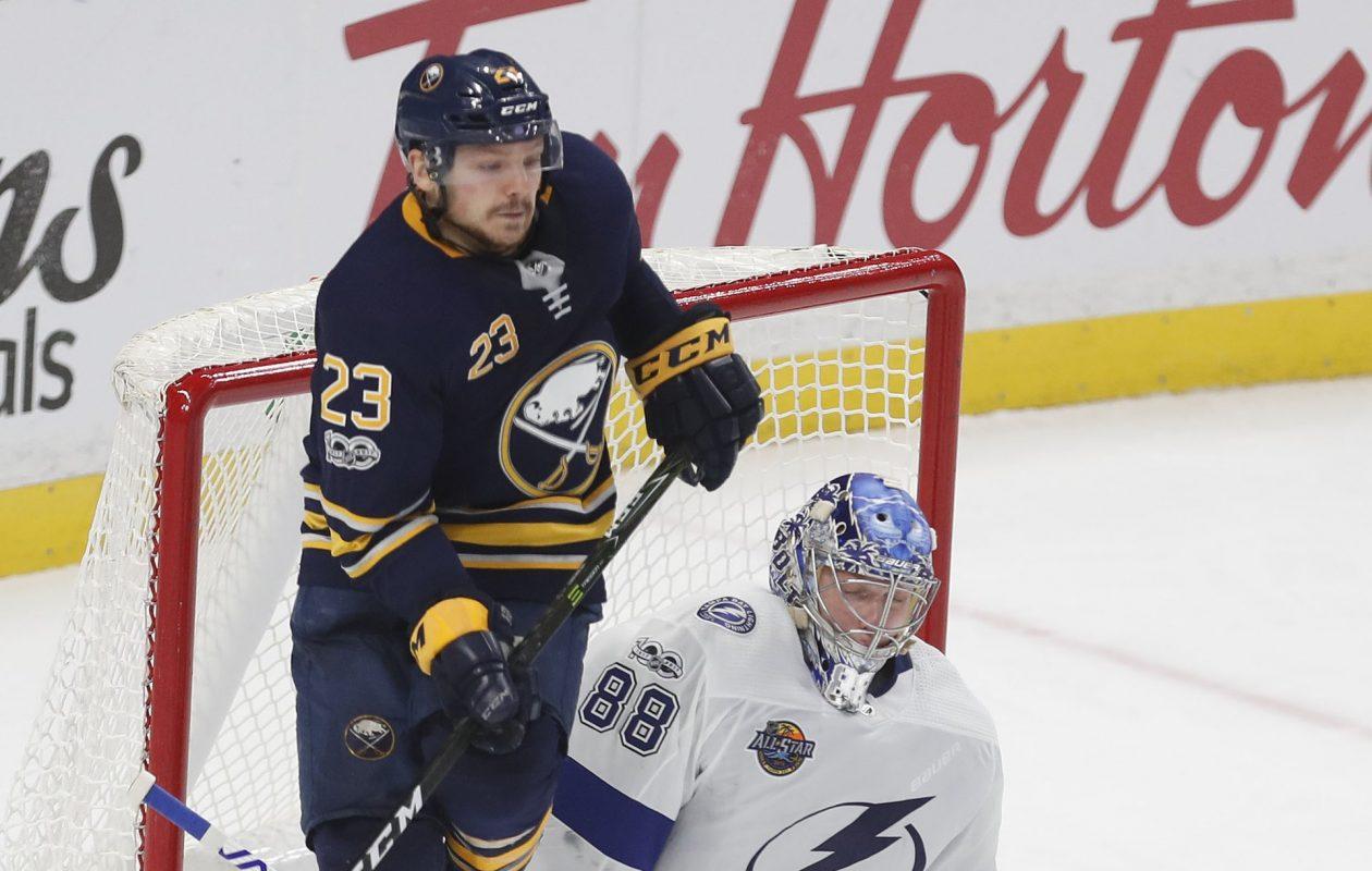 Sam Reinhart had five shots on goal Tuesday. (Mark Mulville/Buffalo News)