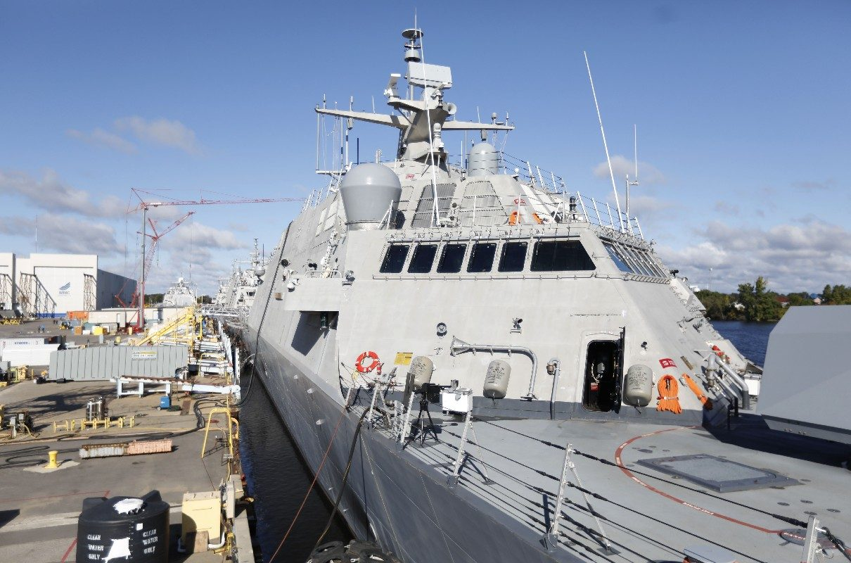 The future USS Little Rock, here docked at the Marinette Marine shipyard in Marinette, Wisc., will come to Buffalo where it will dock next to its namesake in the Buffalo & Erie County Naval and Military Park for commissioning ceremonies that start Dec. 8. (Derek Gee/Buffalo News)