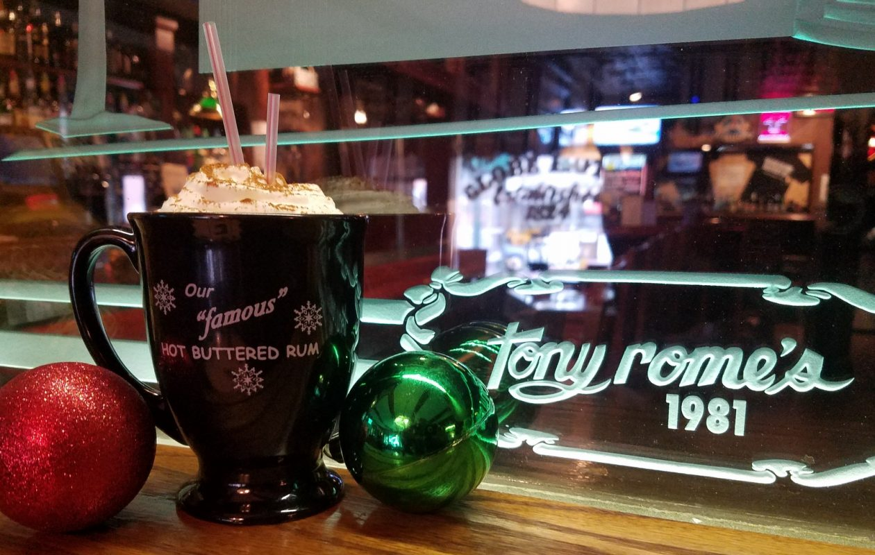 The traditional hot buttered rum cocktail is available for the season at Tony Rome's in East Aurora. (Tony Rome's)