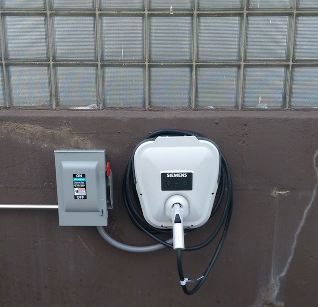 The Town of Tonawanda put this electric charging station in for town vehicles and is considering add a public charging station at Lincoln Park as well