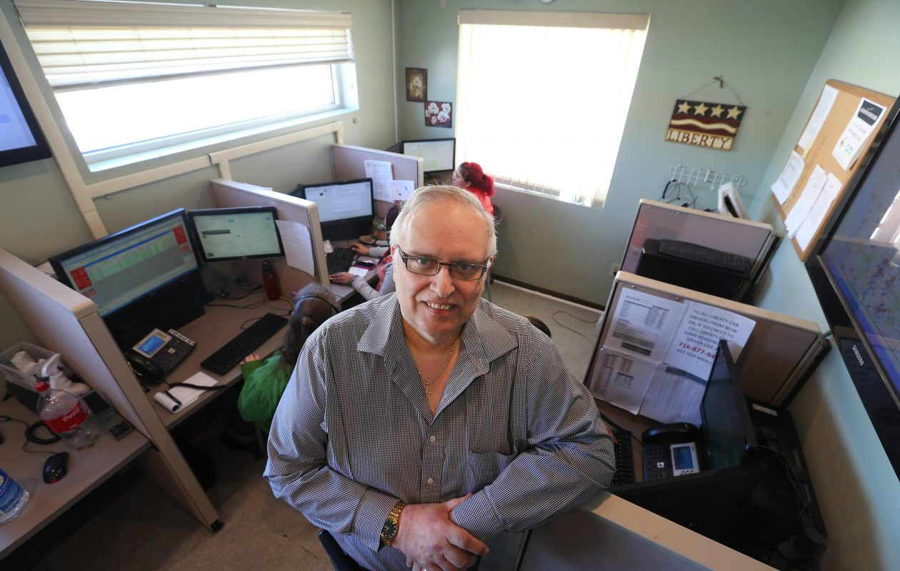 Liberty Cab President William G. Yuhnke in the call center of his Buffalo office in 2015.  (Mark Mulville/News file photo)