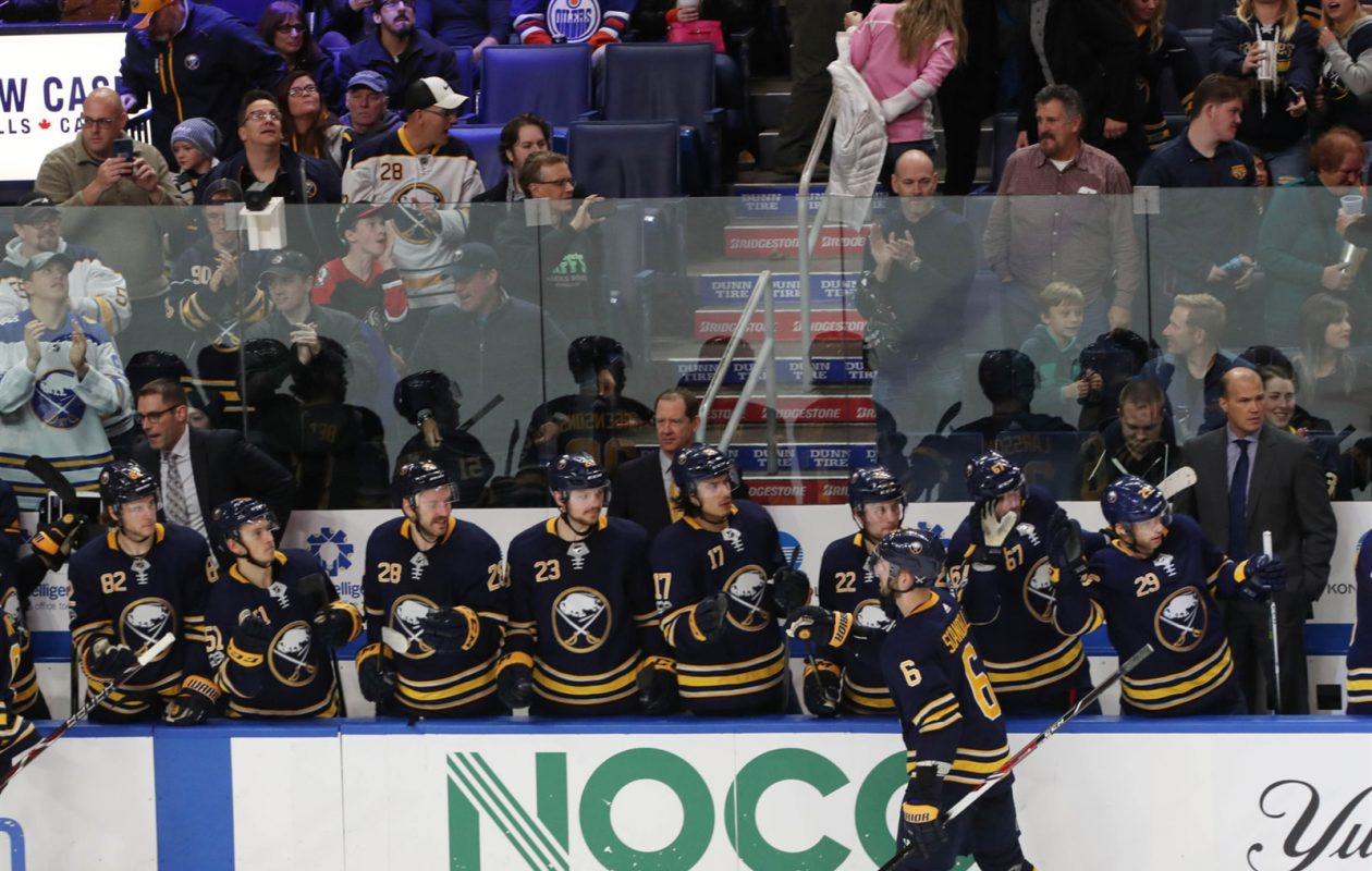 No team has had fewer goal celebrations at its bench than the Buffalo Sabres. (Sharon Cantillon/Buffalo News)