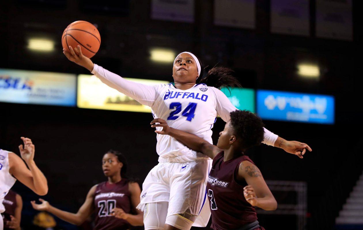 University at Buffalo's Cierra Dillard drives to the basket against Maryland Eastern Shore. (Harry Scull Jr./Buffalo News)