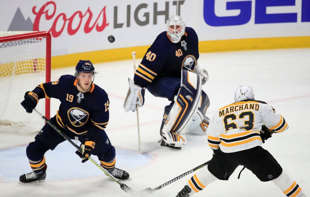 The Sabres' Jake McCabe (19) and Robin Lehner will look to rebound after getting shut out by Brad Marchand and Boston on Tuesday. (Harry Scull Jr./Buffalo News)