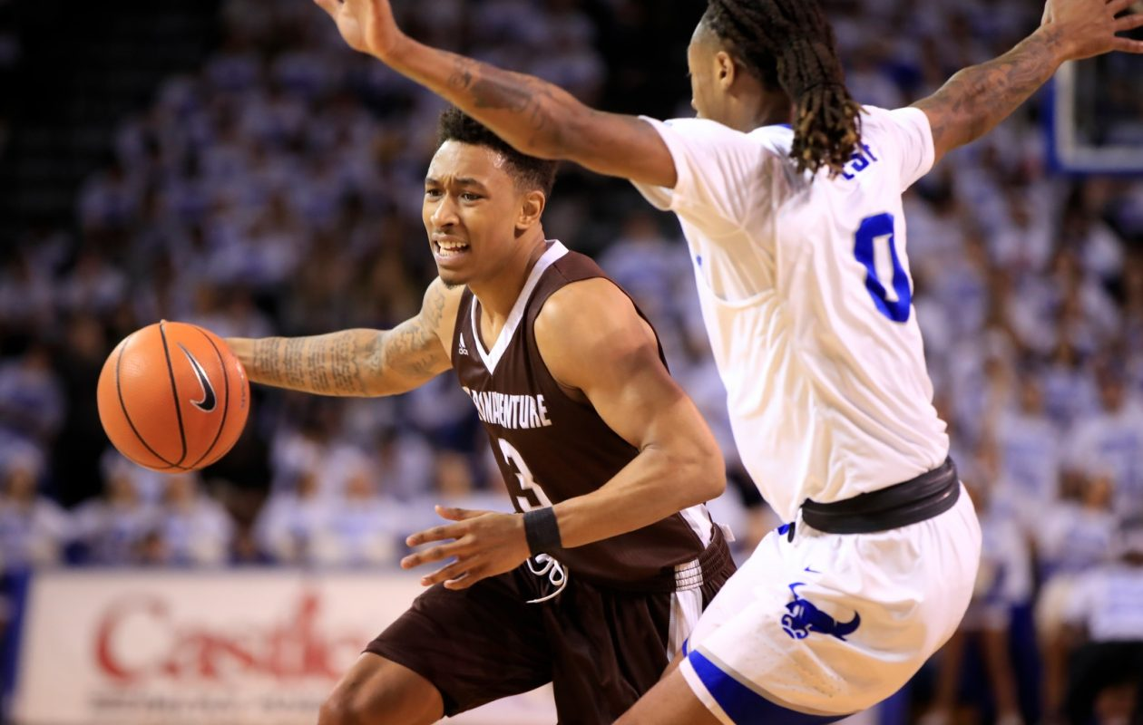 St. Bonaventure guard Jaylen Adams scored 23 points in the Bonnies' victory against Syracuse Friday. (Harry Scull Jr./Buffalo News)