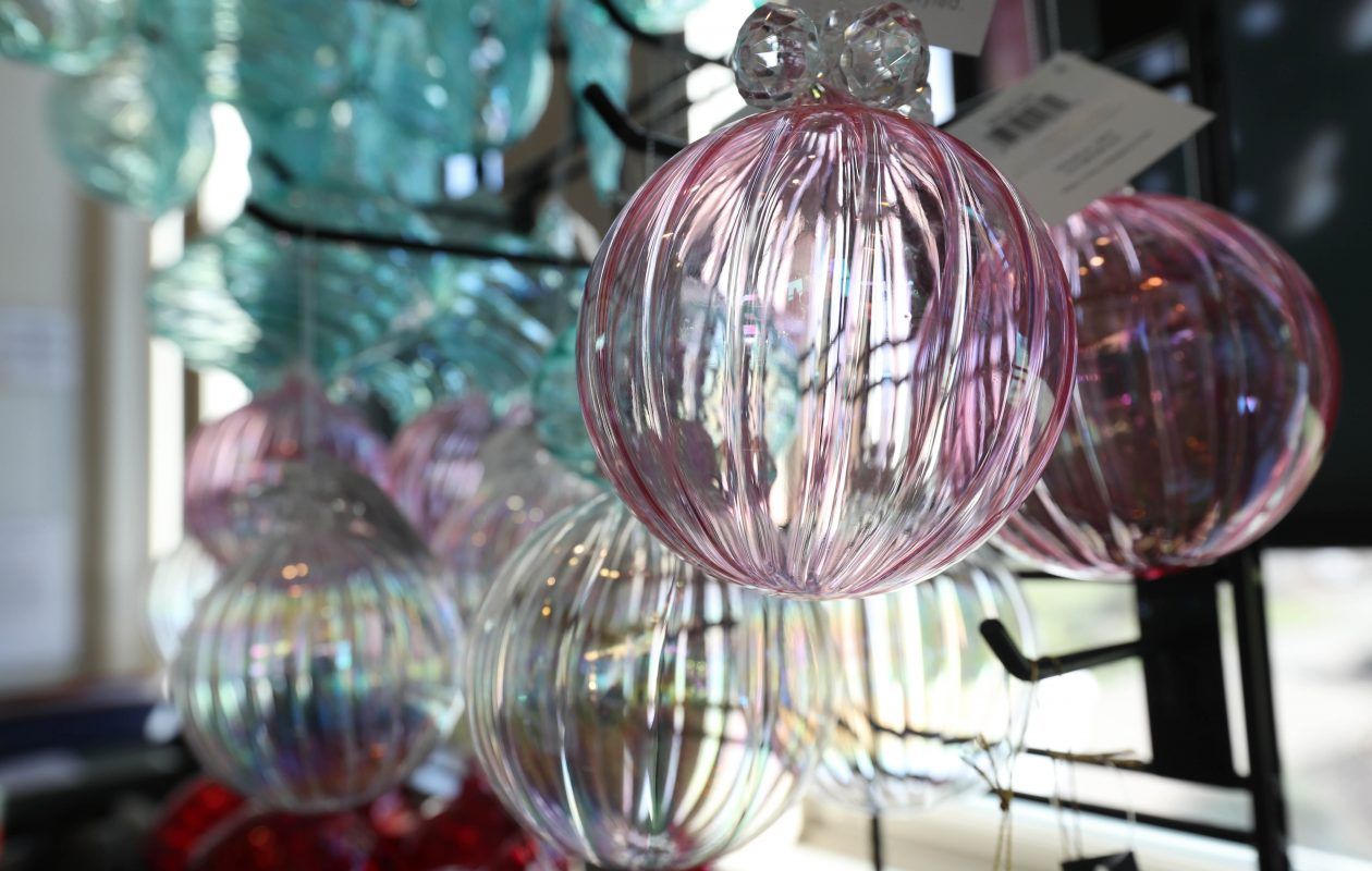 Glass ornaments are among the offerings of the Buffalo and Erie County Botanical Gardens gift shop. (Sharon Cantillon/Buffalo News)