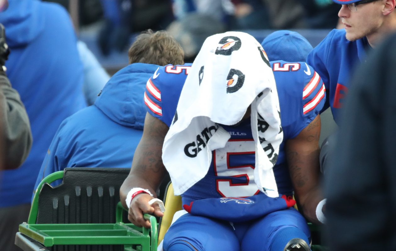 Buffalo Bills quarterback Tyrod Taylor leaves the field on a cart after he was tackled by New England Patriots defensive end Eric Lee in the fourth quarter at New Era Field on Sunday, Dec. 3, 2017. (James P. McCoy/Buffalo News)