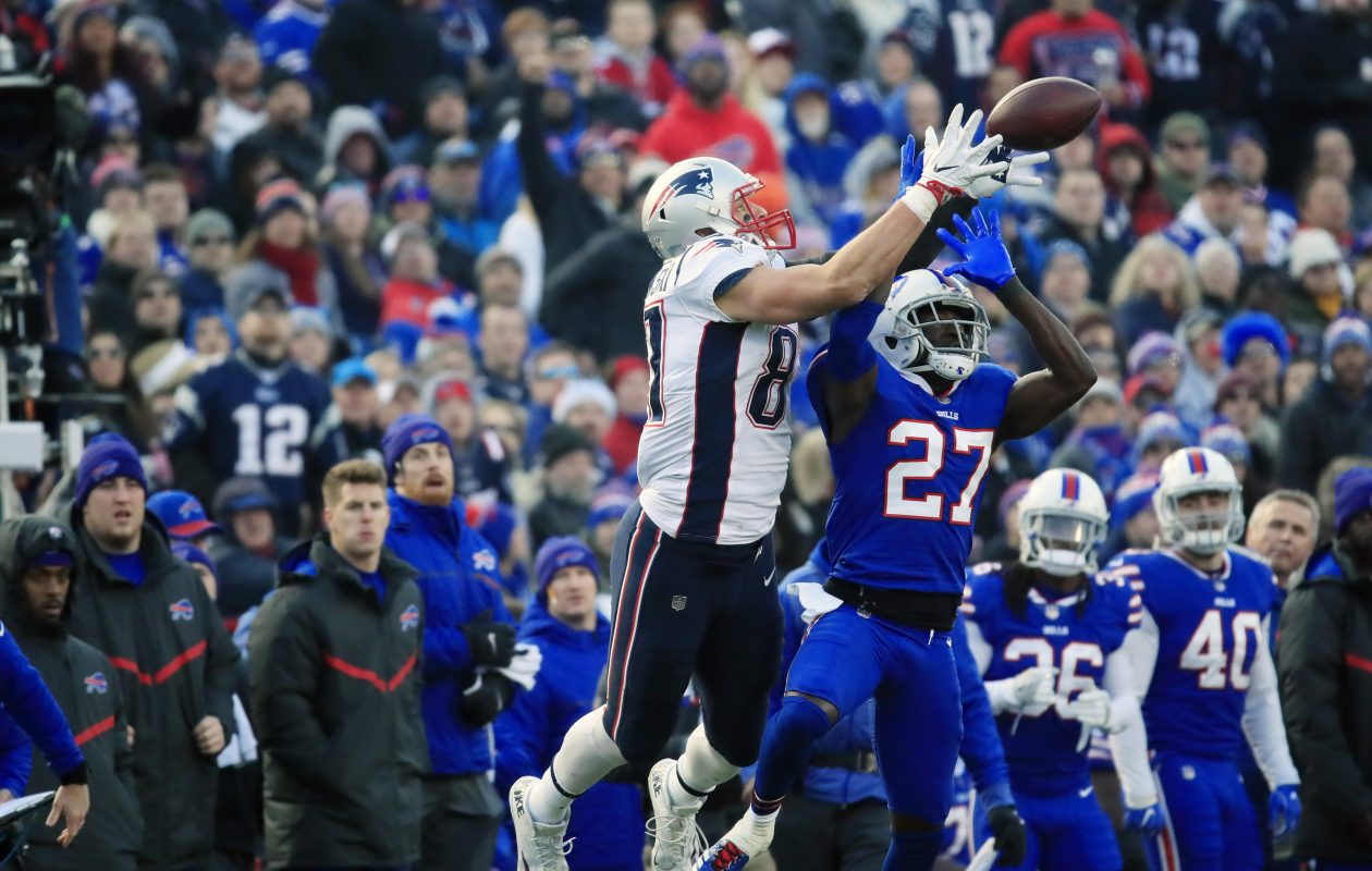 New England Patriots Rob Gronkowski catches a ball over Buffalo Bills Tre'Davious White during third quarter action at New Era Field on Sunday, Dec. 3, 2017. (Harry Scull Jr./ Buffalo News)