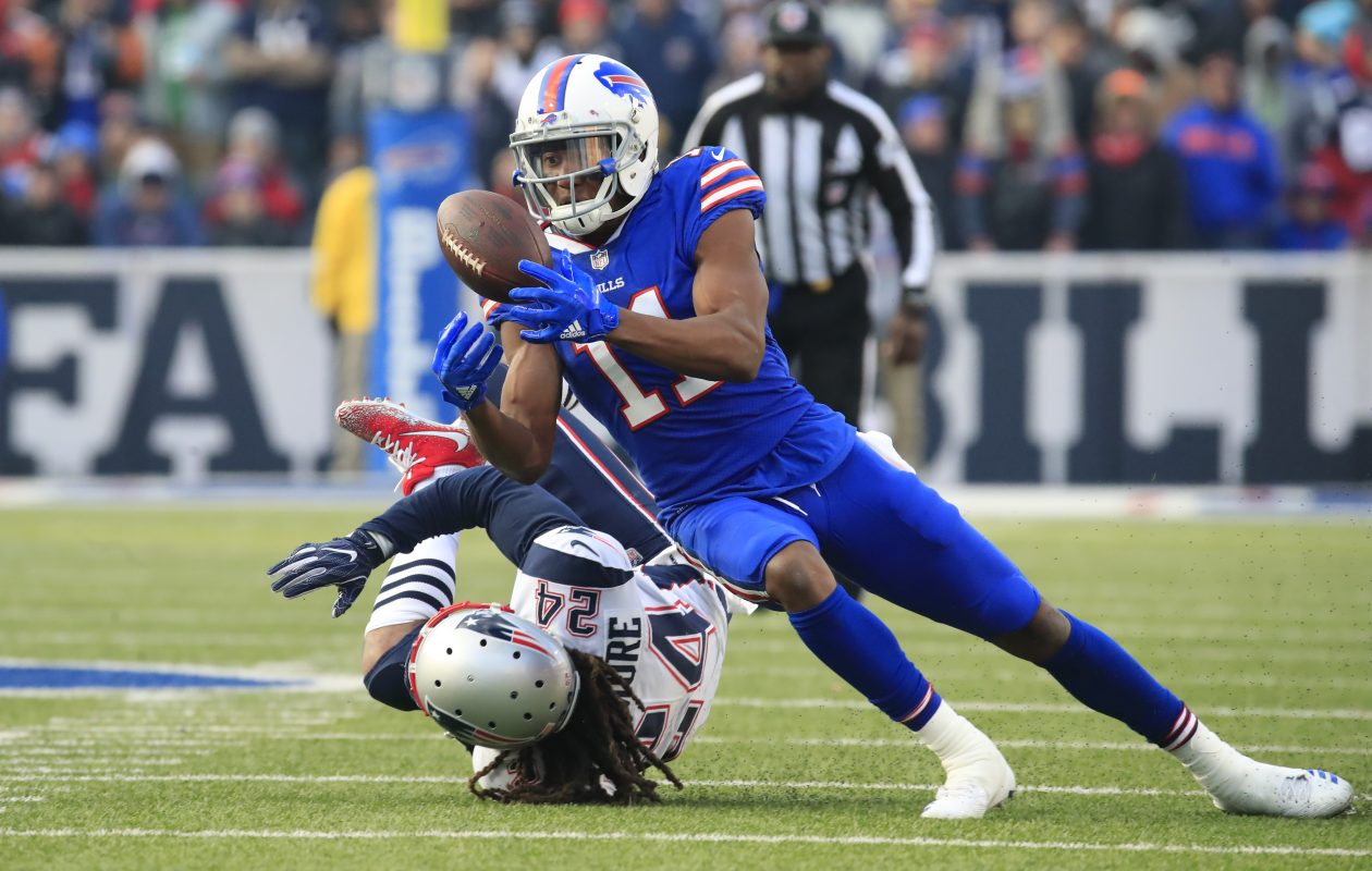 Buffalo Bills' Zay Jones makes a catch in front of New England Patriots' Stephon Gilmore. (Harry Scull Jr./Buffalo News)