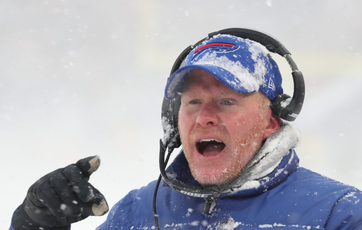 Bills coach Sean McDermott's decision to punt in overtime of Sunday's win over the Colts was highly questionable. (James P. McCoy/Buffalo News)