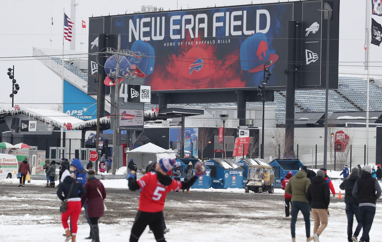 Bills fans enjoy the pregame partying in the parking lots around New Era Field in Orchard Park on Dec. 10, 2017. (James P. McCoy/Buffalo News)