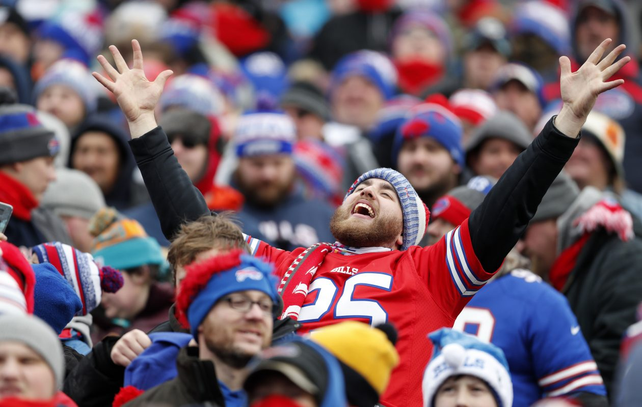 Buffalo Bills fans celebrate after LeSean McCoy scores in the second quarter on Sunday, Dec. 17, 2017. (Mark Mulville/Buffalo News)