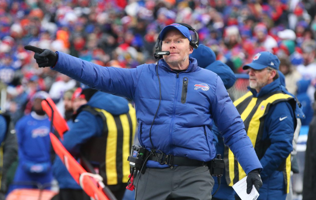 Buffalo Bills head coach Sean McDermott wants to talk to the refs in the fourth quarter at New Era Field on Sunday, Dec. 17, 2017. (James P. McCoy/Buffalo News)