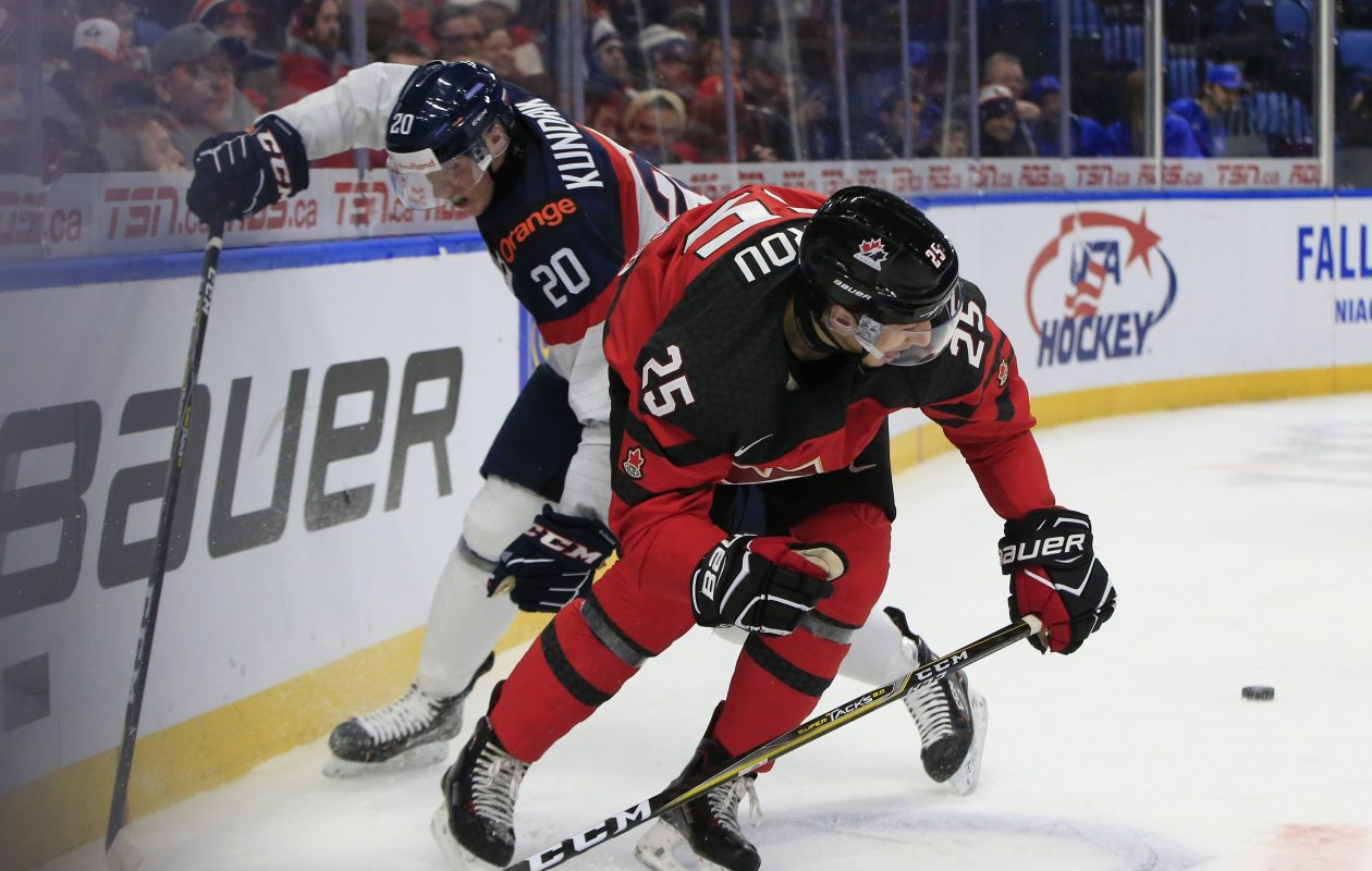 Canada's Jordan Kyrou recorded a goal and two assists during the 6-0 win over Slovakia at KeyBank Center. (Harry Scull Jr./ Buffalo News)