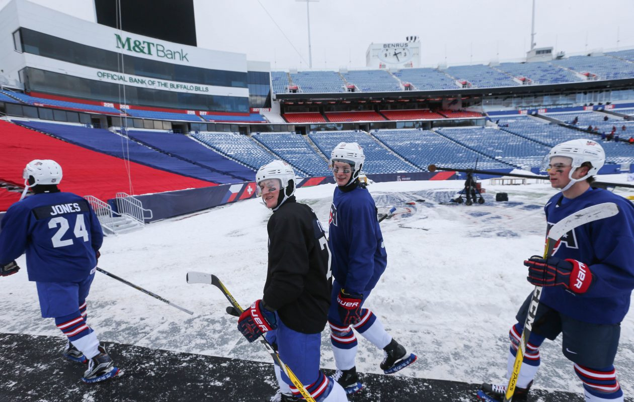 Team USA will play Canada in the first outdoor game at the World Juniors. (Derek Gee/Buffalo News)