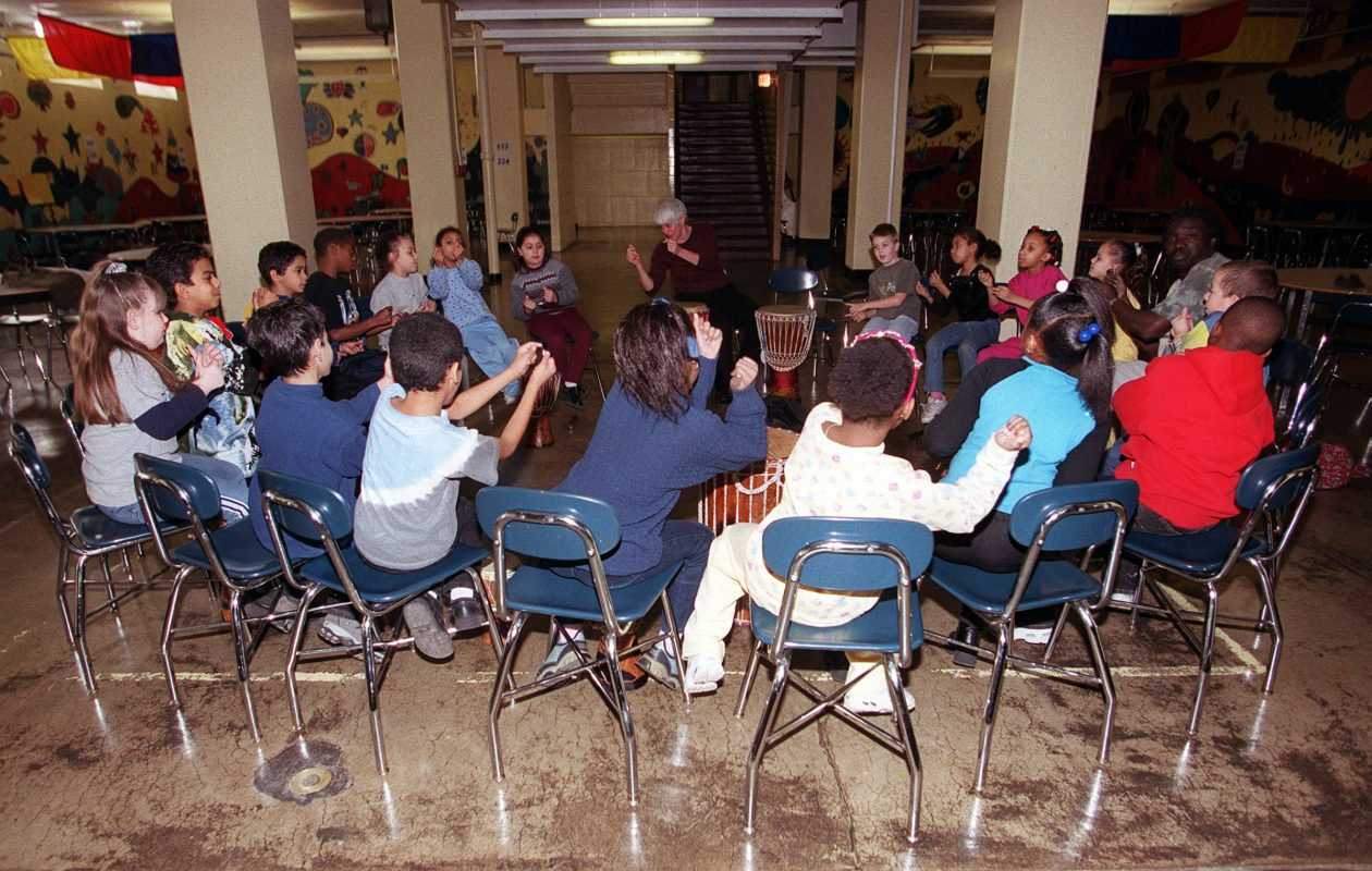 Students at School 18 participate in a music class. (Buffalo News file photo)