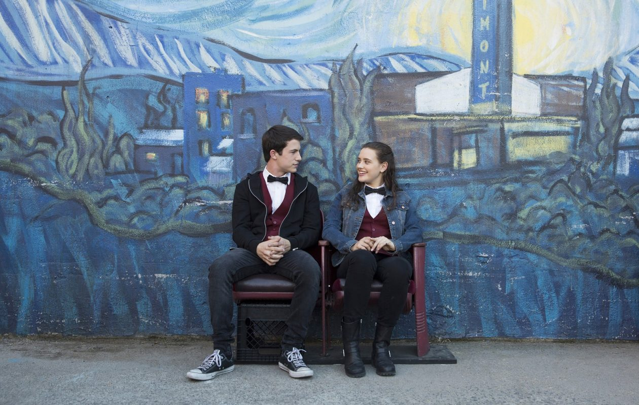 "Dylan Minnette as Clay and Katherine Langford as Hannah in ""13 Reasons Why"""