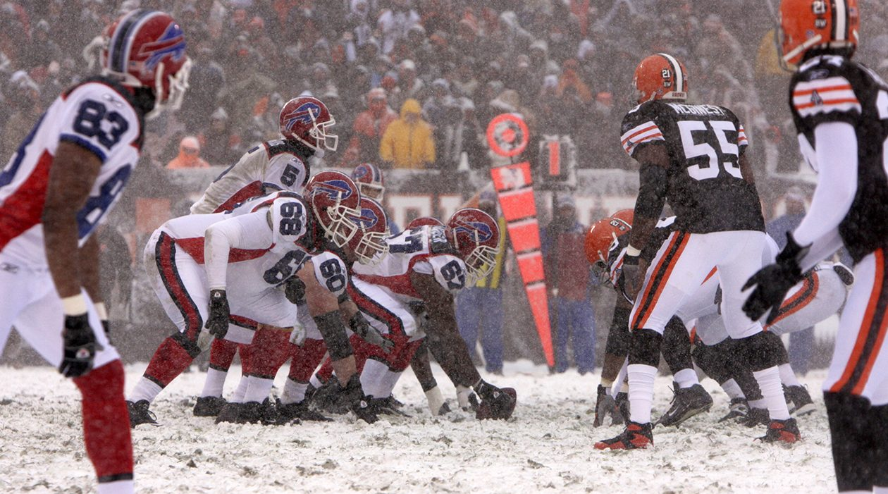 The Bills play the Browns on a snow-filled day in Cleveland on Dec. 16, 2007, another dreary December game when Buffalo's playoff dreams were technically on the line. (James P. McCoy/News file photo)