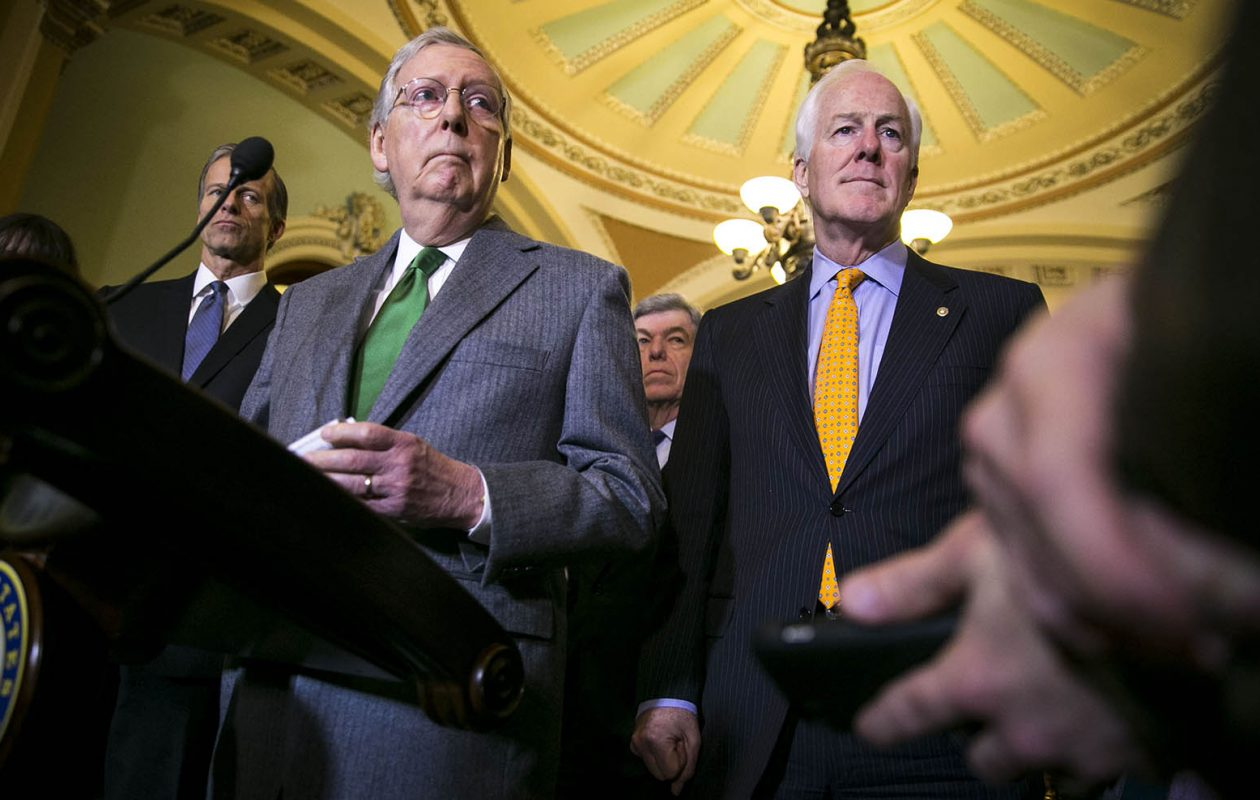 """'Congress is standing at the doorstep of a historic opportunity,"""" said Senate Majority Leader Mitch McConnell (R-Ky.) as he announced plans for the Tuesday night vote. (Al Drago/Getty Images file photo)"""