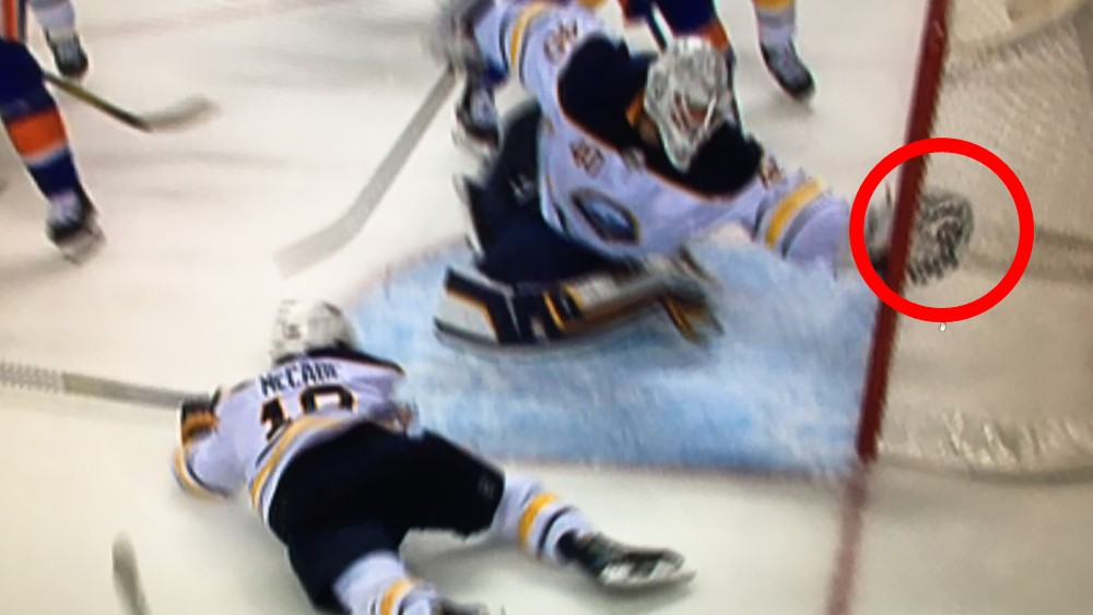 The NHL determined the puck crossed the goal line Wednesday despite Robin Lehners best efforts to keep it out. (NHL Situation Room)