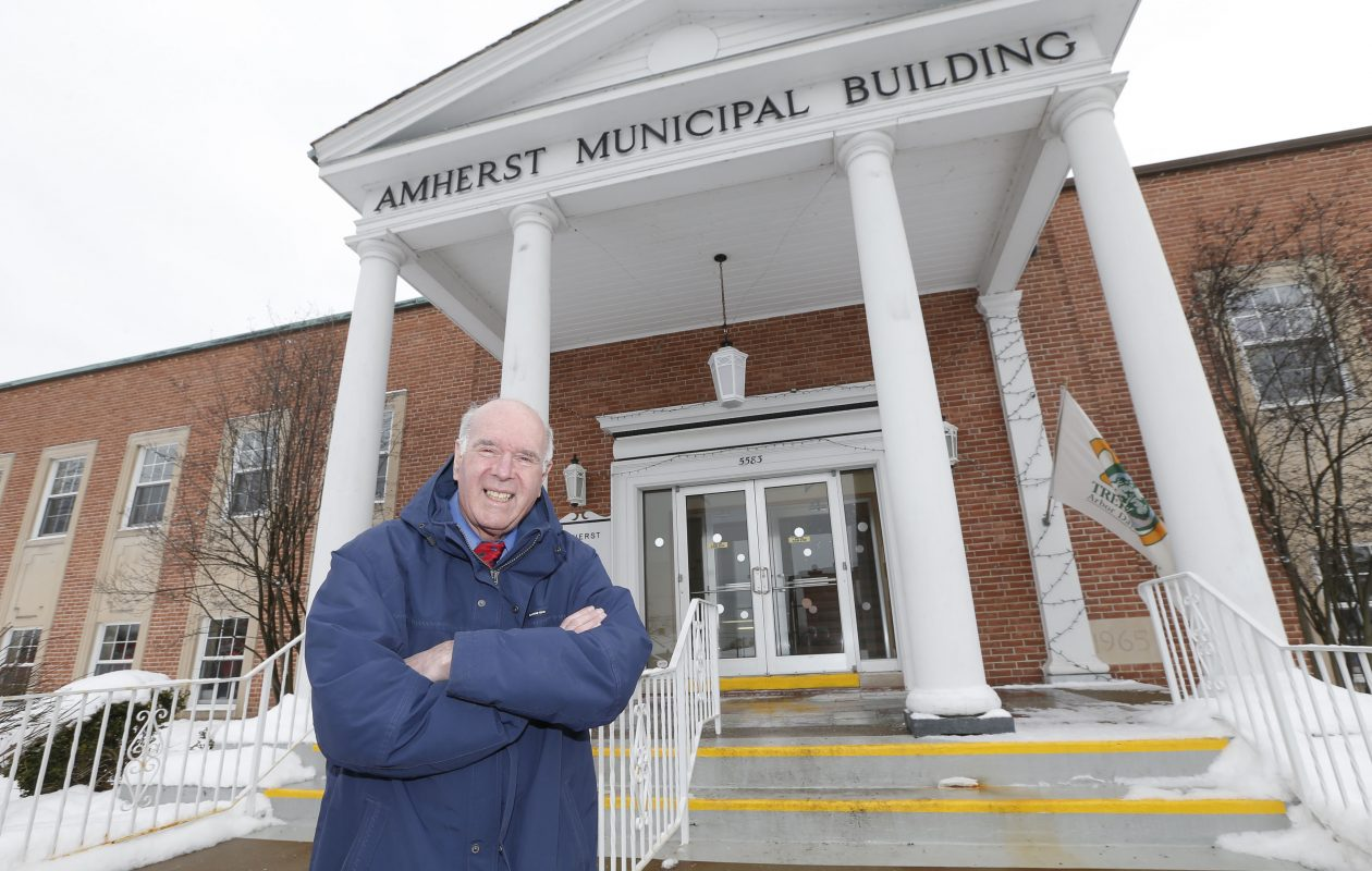 Amherst Town Supervisor Barry Weinstein will leave office at the end of this month, culminating 34 years in public service as a Williamsville School Board member, Erie County legislator and  Amherst Town Board member. He's shown here outside Amherst Town Hall in Willamsville on Friday, Dec. 15, 2017.  (Robert Kirkham/Buffalo News)
