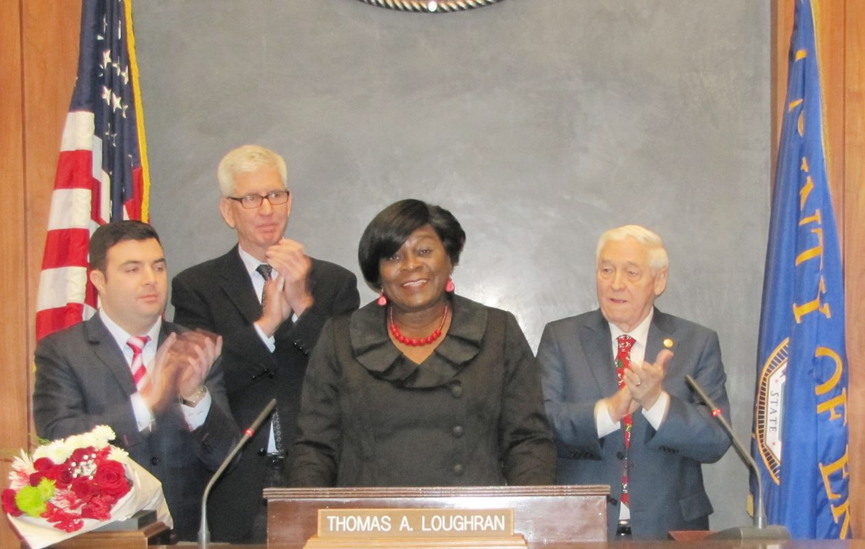 Erie County Legislator Betty Jean Grant is recognized for her years of service. Standing with her from left to right are Majority Leader Joseph Lorigo, Minority Leader Thomas Loughran and Chairman John Mills. (Contributed photo)